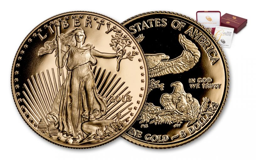 2018-W 5 Dollar 1/10-oz Gold Eagle Proof