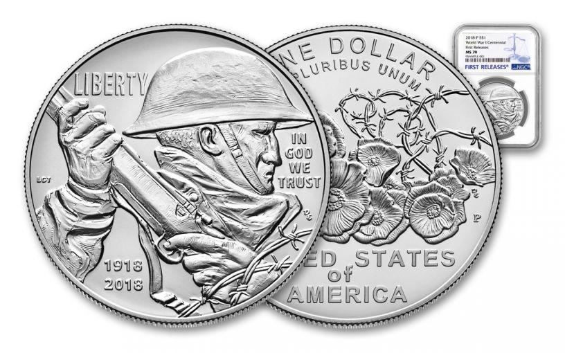 2018-P 1 Dollar Silver World War I Centennial NGC MS70 First Releases