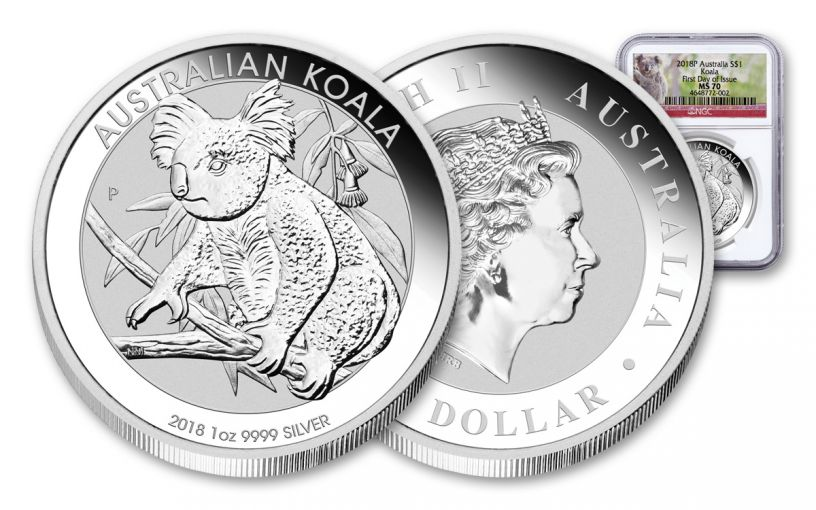 2018 Australia 1 Dollar 1-oz Silver Koala NGC MS70 First Day Of Issue
