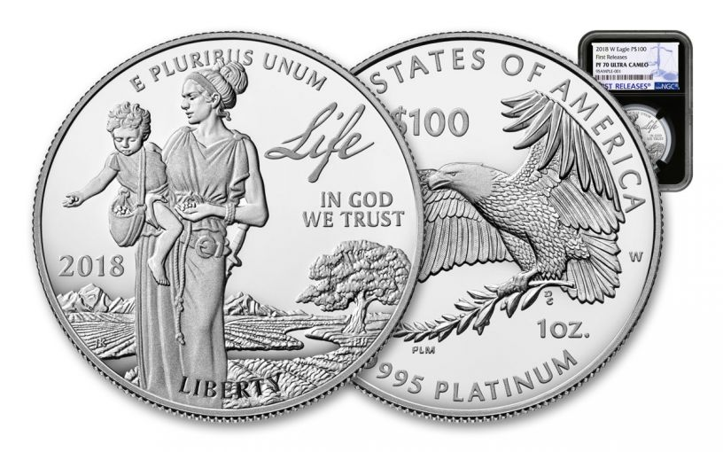 2018-W 100 Dollar 1-oz Platinum Eagle NGC PF70UCAM First Releases - Black