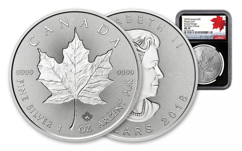 2018 Canada 1-oz Silver Incuse Maple Leaf NGC MS70 FDI 30th Anniversary Label - Black