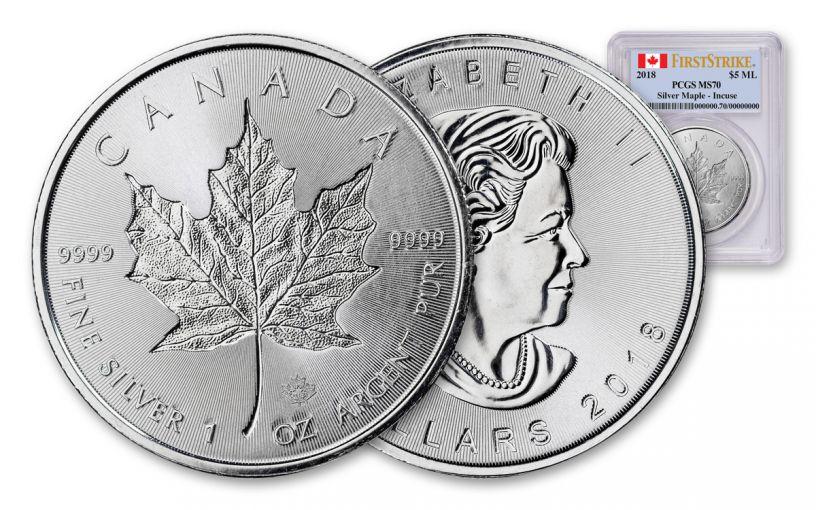 2018 Canada 1-oz Silver Incuse Maple Leaf PCGS MS70 First Strike