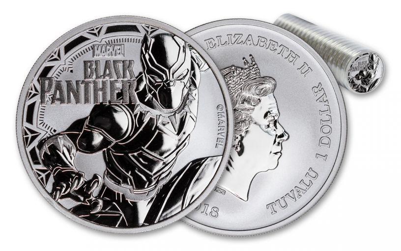 2018 Tuvalu 1 Dollar 1-oz Silver Black Panther BU Roll of 20
