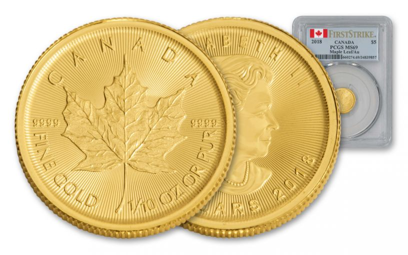 2018 Canada 5 Dollar 1/10-oz Gold Maple Leaf PCGS MS69 First Strike