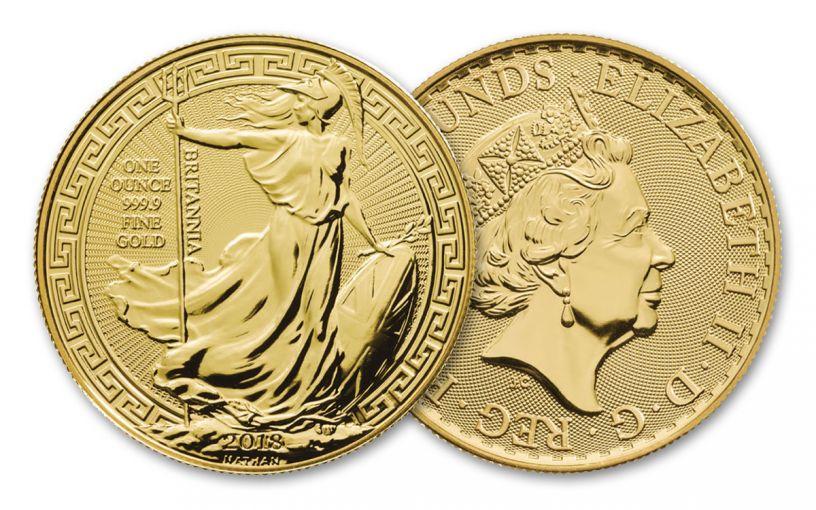 2018 Great Britain 1-oz Gold Britannia Oriental Border BU