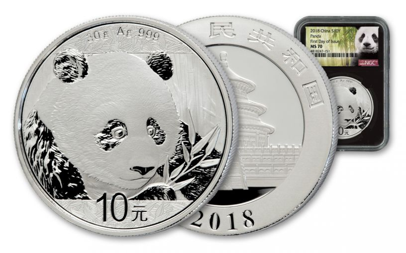 2018 China 30 Gram Silver Panda NGC MS70 First Day Of Issue – Black Core