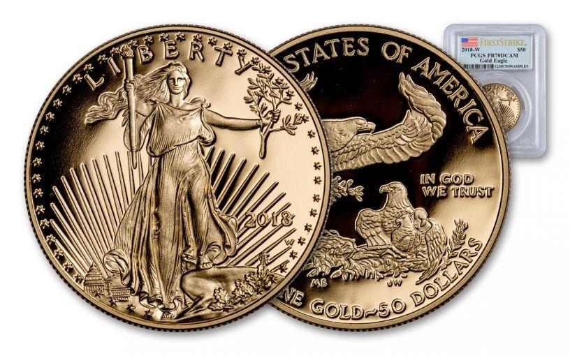 2018-W 50 Dollar 1-oz Gold Eagle PCGS PR70DCAM First Strike