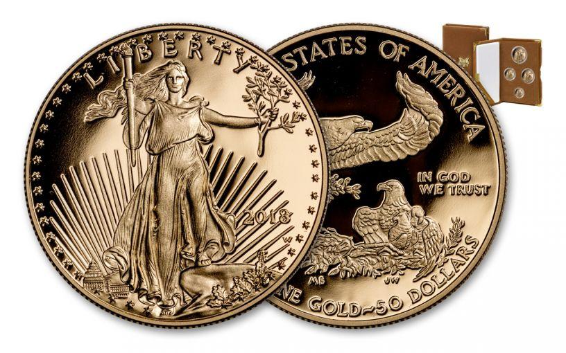 2018-W 5-50 Dollar Gold Eagle Proof Set 4pc