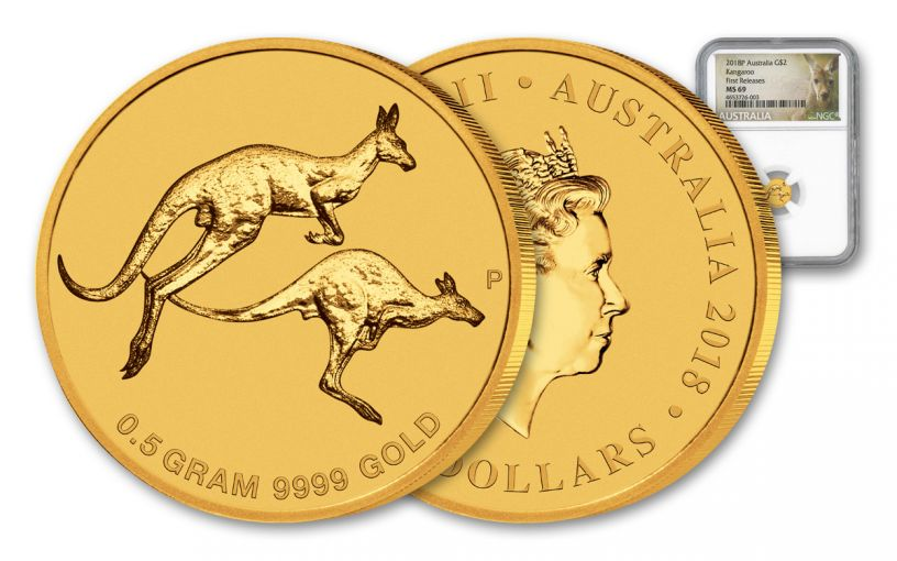 2018 Australia $2 1/2-Gram Gold Kangaroo NGC MS69 First Releases