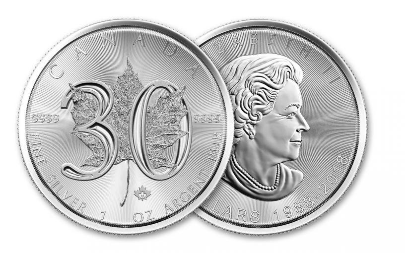 2018 Canada 5 Dollar 1-oz Silver Maple Leaf 30th Anniversary Design BU