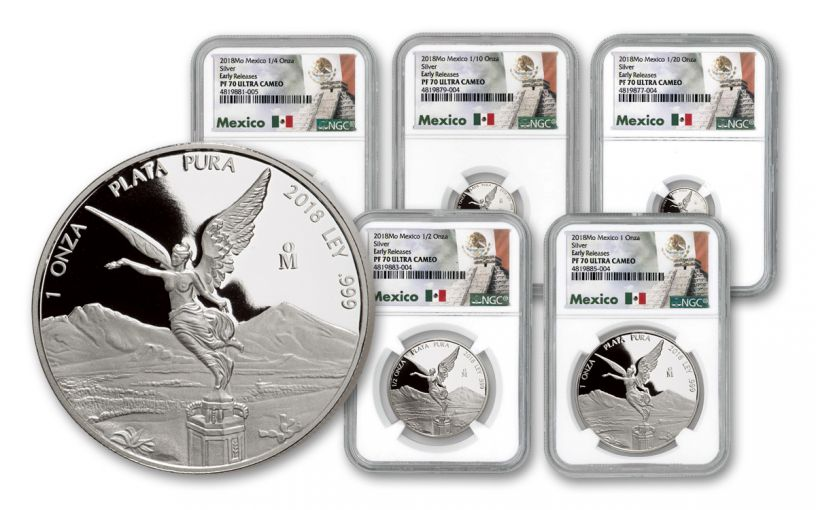2018 Mexico Silver Libertad 5-Piece Set NGC PF70UC Early Releases