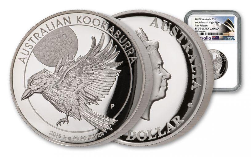 2018 Australia 1-Ounce $1 Silver Kookaburra High Relief NGC PF70UC First Releases - Australia Label