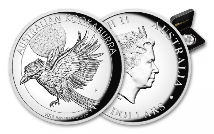 2018 Australia 5 Ounce $8 Silver Kookaburra High Relief Proof