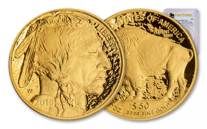 2018-W 50 Dollar 1-oz Gold Buffalo PCGS PR70DCAM First Strike Buffalo Label