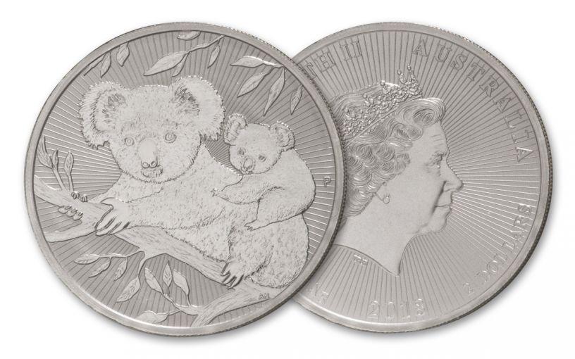 2018 Australia $2 2-oz Silver Koala Piedfort NGC MS70