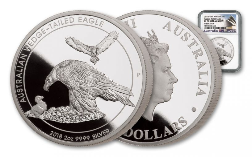 2018 Australia $2 2-oz Silver Wedge Tailed Eagle Piedfort NGC PF70UC