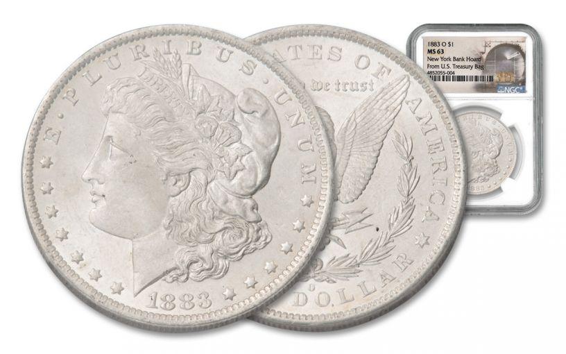 1883-O Morgan Silver Dollar New York Bank Hoard Treasury NGC MS63
