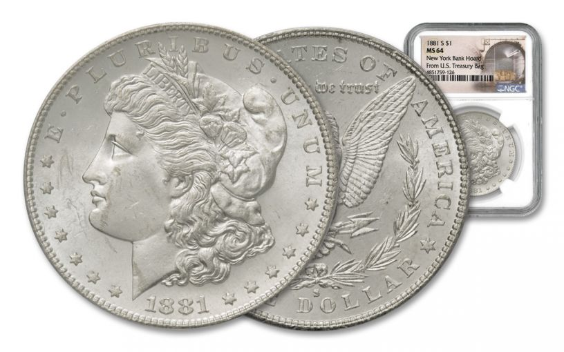 1881-S Morgan Silver Dollar New York Bank Hoard Treasury NGC MS64