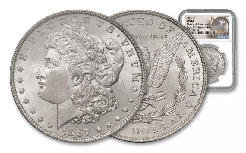 1887-P Morgan Silver Dollar New York Bank Hoard Treasury NGC MS64