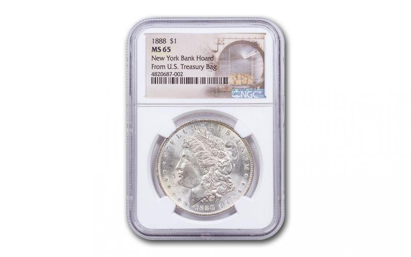 1888-P Morgan Silver Dollar New York Bank Hoard Treasury NGC MS65