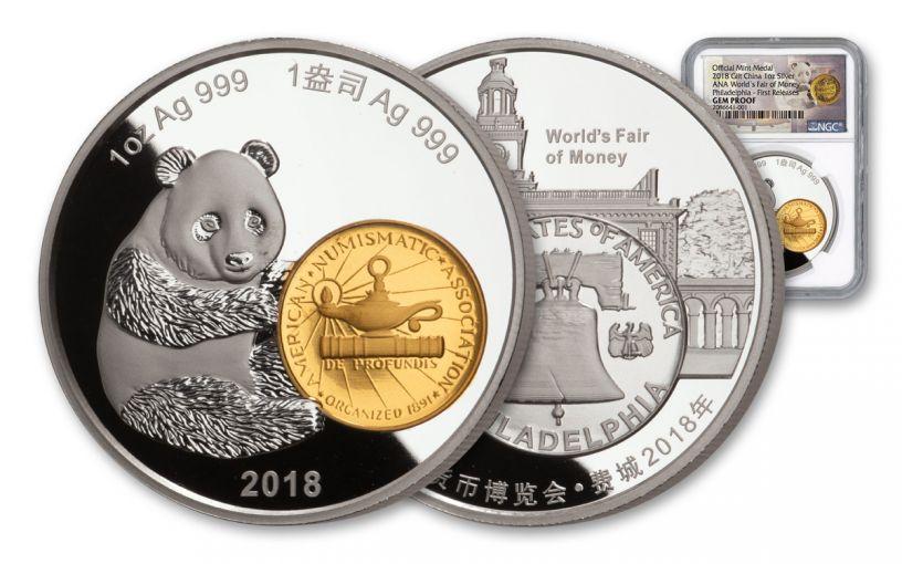 2018 China 1-oz Silver Philadelphia ANA Show Panda NGC Gem Proof First Releases