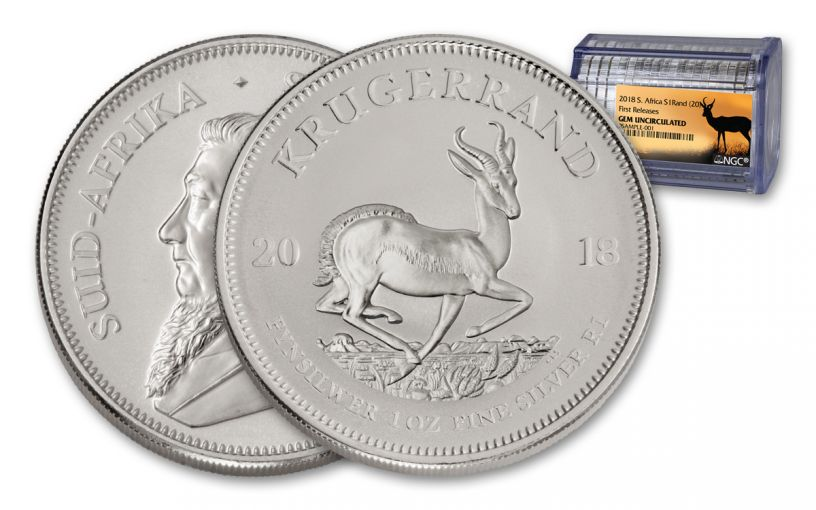 Roll of 20 - 2018 South Africa 1-Ounce Silver Krugerrand NGC Gem UNC First Releases - Springbok Label