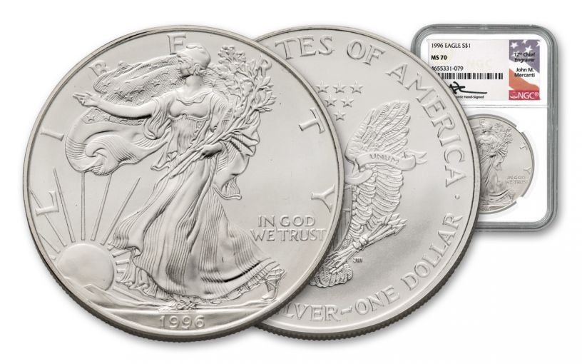1996 $1 1-oz Silver American Eagle NGC MS70 - Mercanti Signed Label
