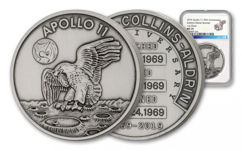 Apollo 11 Robbins Medal 1-oz Silver with Space Flown Alloy Antiqued NGC MS70 - 50th Anniversary Commemorative