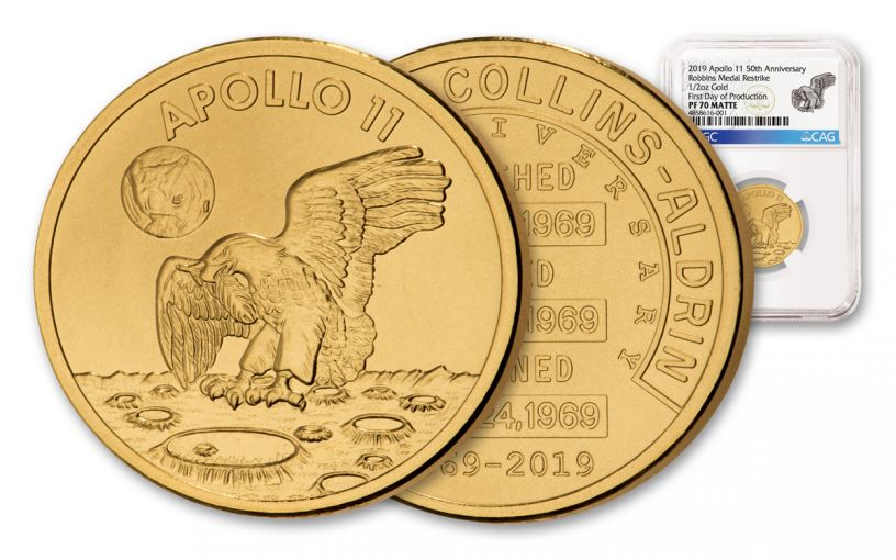 Apollo 11 Robbins Medal 1/2-oz Gold NGC PF70 Matte First Day of Production - 50th Anniversary Commemorative