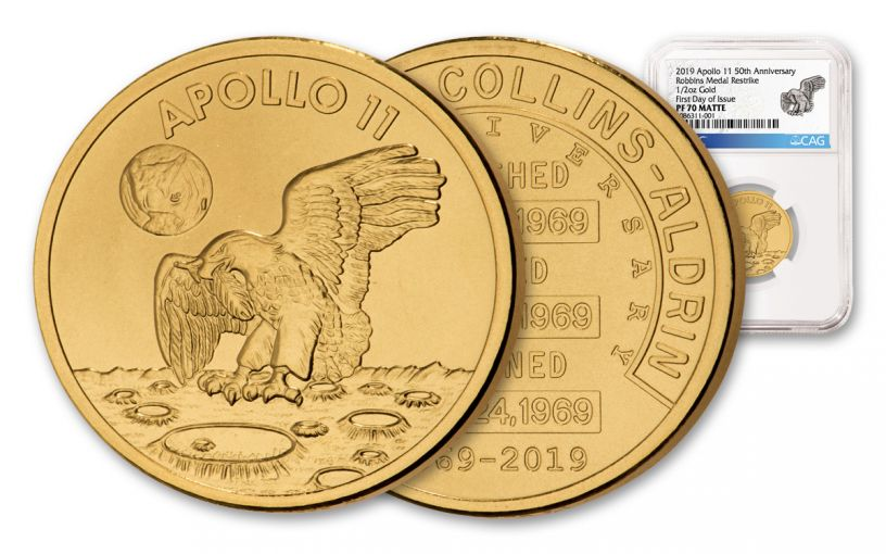Apollo 11 Robbins Medal 1/2-oz Gold NGC PF70 Matte First Day of Issue - 50th Anniversary Commemorative