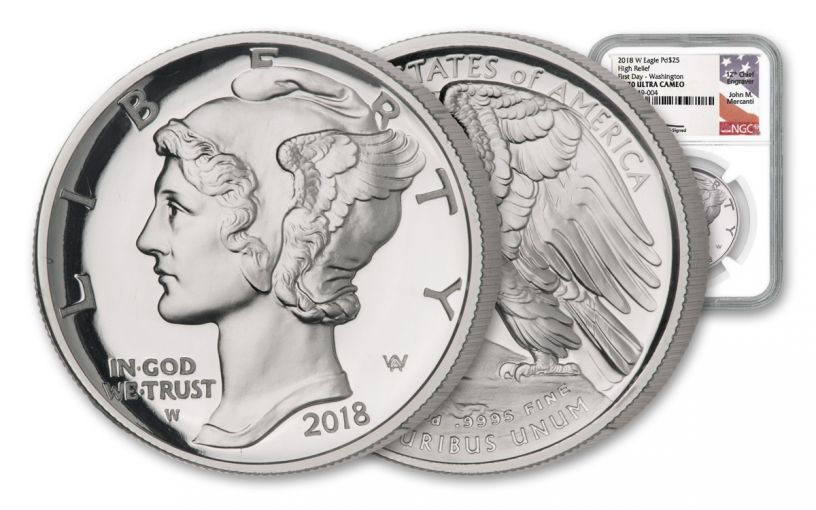 2018-W $25 1-oz Palladium American Eagle NGC PF69UC First Day of Issue Washington D.C. - Mercanti Signed Label