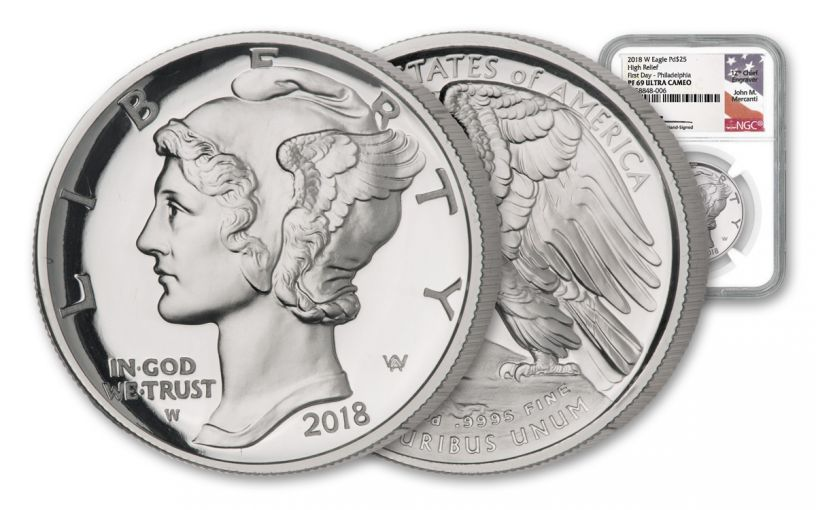 2018-P $25 1-oz Palladium American Eagle NGC PF69UC First Day of Issue Philadelphia - Mercanti Signed Label