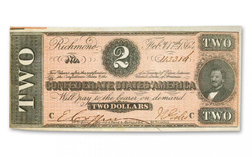 1864 $2 Confederate Currency Paper Note AU