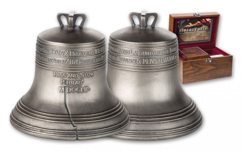 2018 Solomon Islands $10 4-oz Silver Liberty Bell Antiqued