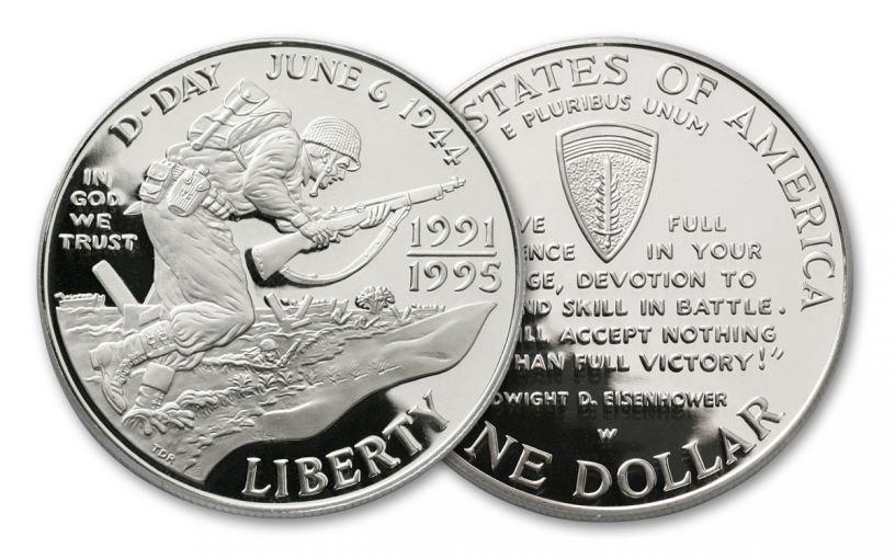 1991–1995-W $1 Silver World War II 50th Anniversary Commemorative Proof