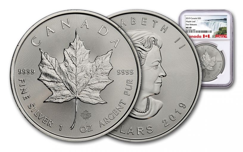 2019 Canada $5 1-oz Silver Maple Leaf NGC MS69 First Releases - Exclusive Canada Label