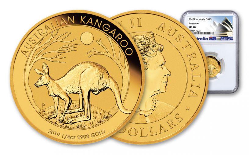 2019 Australia $25 1/4-oz Gold Kangaroo NGC MS70