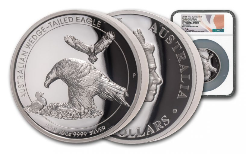 2018 Australia $10 10-oz Silver Wedge Tailed High Relief NGC PF70UC First Releases - Mercanti Signed Label