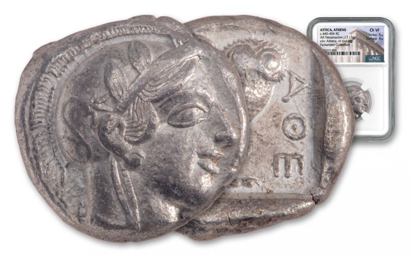 440–404 B.C. Ancient Attica Athens Silver Athena Owl Tetradrachm NGC Ch VF - The Parliament Collection