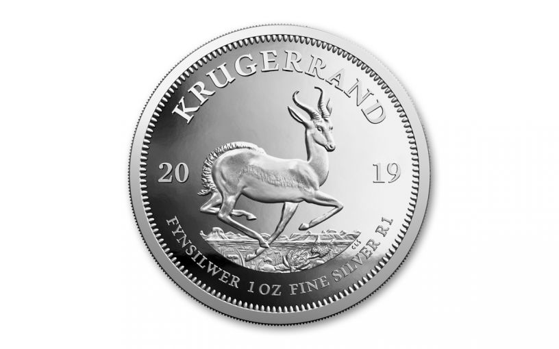 2019 South Africa 1-oz Silver Krugerrand Proof with Mint Cert and Box
