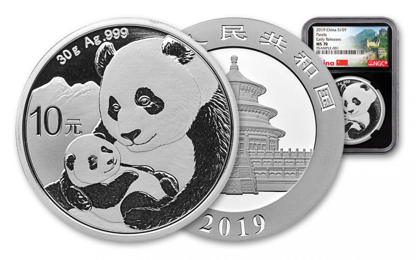 2019 China 30 Gram Silver Panda NGC MS70 Early Releases - Black Core, China Great Wall Label