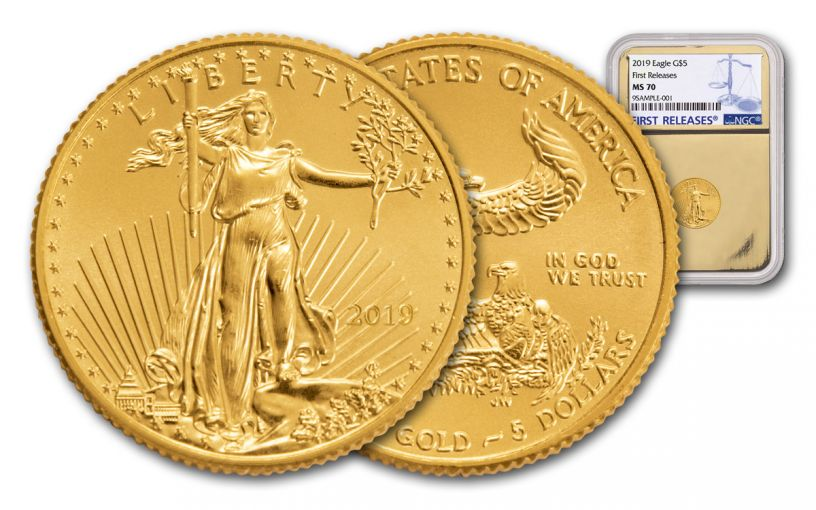 2019 $5 1/10-oz Gold American Eagle NGC MS70 First Releases - Gold Core