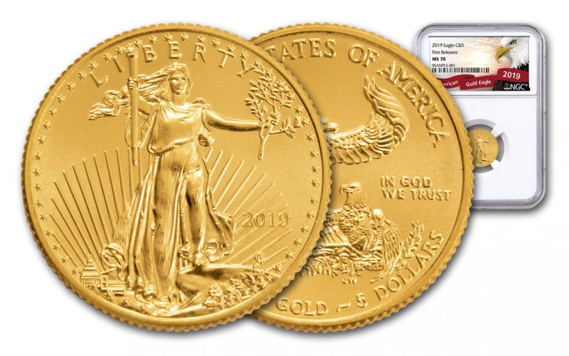 2019 $5 1/10-oz Gold American Eagle NGC MS70 First Releases - Eagle Label