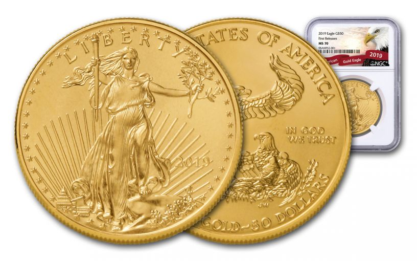 2019 $50 1-oz Gold American Eagle NGC MS70 First Releases - Eagle Label
