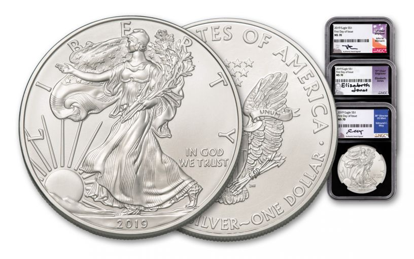 2019 $1 Silver American Eagle 3-Piece Set NGC MS70 First Day of Issue - Black Core, Mercanti/Jones/Moy Signed Labels