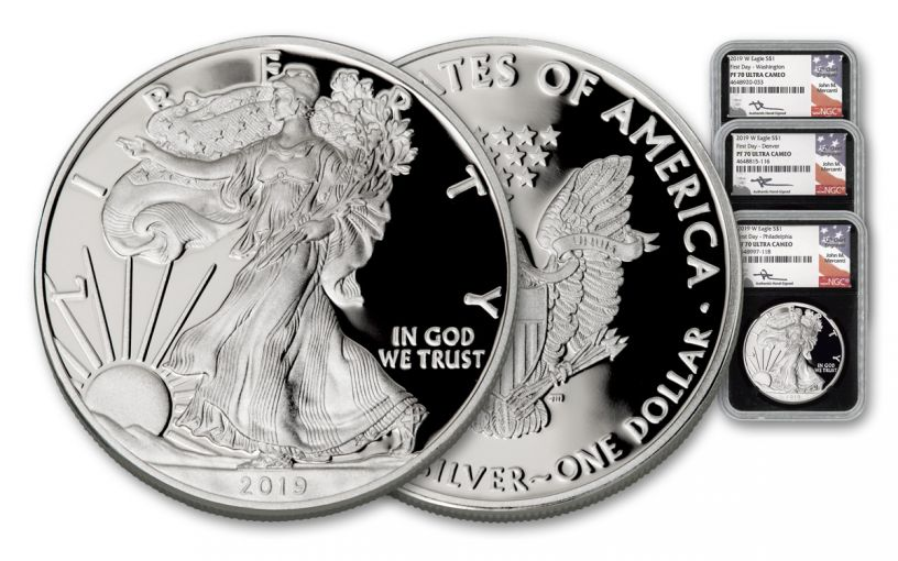 2019-W $1 Silver American Eagle 3-Piece Set NGC PF70UC First Day of Issue - Black Core, WDC/D/P Mercanti Signed Labels