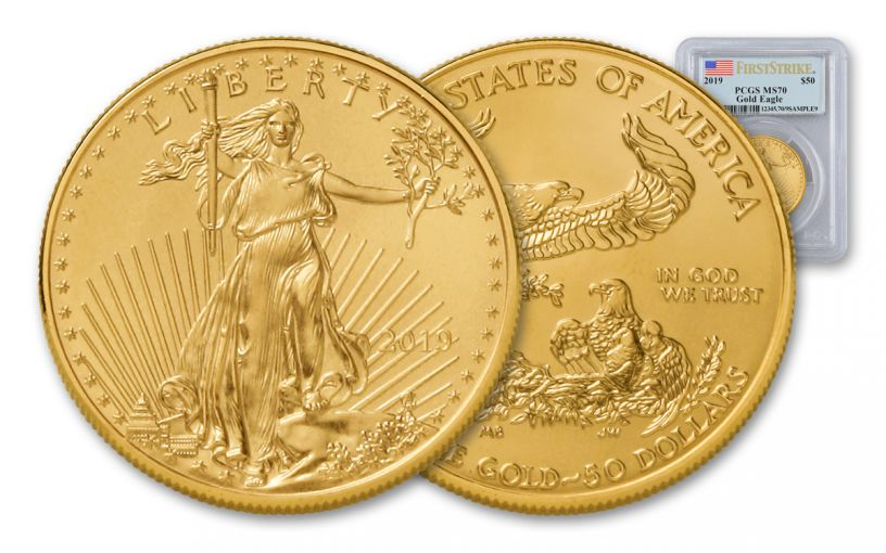 2019 $50 1-oz Gold American Eagle PCGS MS70 First Strike