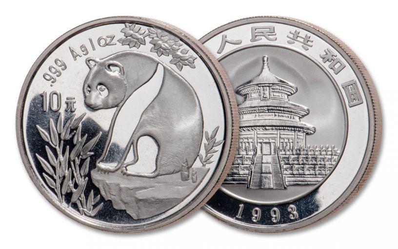 1993 China 1-oz Silver Panda BU
