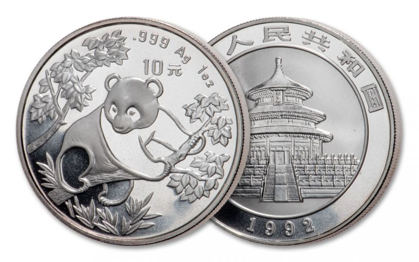 1992 China 1-oz Silver Panda BU