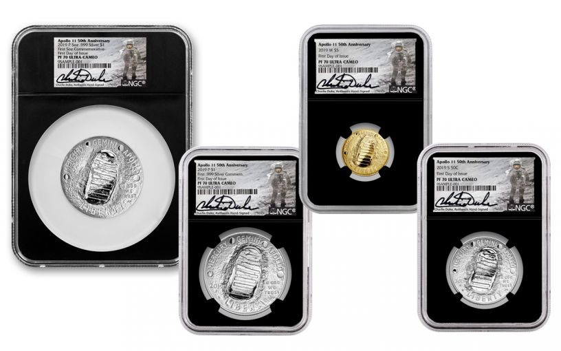 2019 Apollo 11 50th Anniversary 4-Piece Set NGC PF70UC First Day of Issue - Charlie Duke Signed Labels